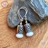 Silver Celtic White Agate Earrings